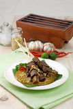 Sumatra's Satay. Asian cuisine known as sate padang, beef satay with spicy sauce Royalty Free Stock Photography