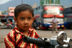 Sumatran boy on a bike Stock Image