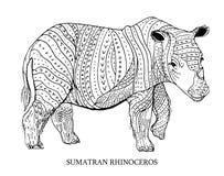 Sumatran noshörning Sällsynt djur, beskyddstatus också vektor för coreldrawillustration Royaltyfri Foto