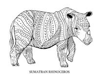 Sumatran rhinoceros. Rare animal, conservation status. Vector illustration. Sumatran rhinoceros. Rare animal conservation status,vector illustration Royalty Free Stock Photo