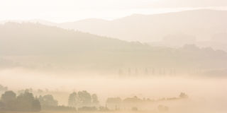 Sumava abstract fog sunrise Royalty Free Stock Photography