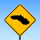Sumba map on road sign. Square poster with Sumba island map on yellow rhomb road sign. Vector illustration stock illustration