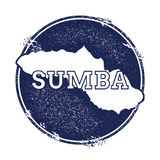 Sumba vector map. Grunge rubber stamp with the name and map of island, vector illustration. Can be used as insignia, logotype, label, sticker or badge Stock Image