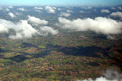 Sumburu National Reserve. Aerial view of white clouds over Samburu National Reserve, Kenya, Africa royalty free stock image