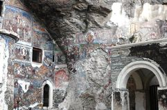 Sumela Monastery in Trabzon in thousands of years, adorned with handmade and icons everywhere, have come much ruined our day Royalty Free Stock Photography