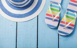 Sumemr hat and flip flops shoes Stock Image