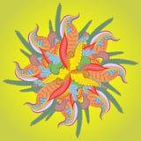 与抽象异常的花的传染媒介背景。与花饰的明亮的sumer样式您的设计的 免版税图库摄影