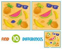 Sumer pattern find 10 differences. Find differences logic education interactive game for children. Icons set  elements related with sand summer time holiday Stock Image