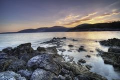 Sumer sunset, landscape, becah in Montenegro Stock Photos
