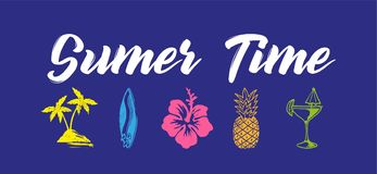 Sumer time. Colorful fashion vintage graphic print for clothes t shirt with lettering `Summer time` and holiday icons, palms, surfing board, flower, cocktail royalty free illustration
