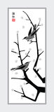 Sumi-e birds. Black and white cherry tree with birds vector illustration in Chinese art style Stock Photography