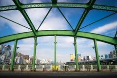 Sumida公园绿色桥梁在东京,日本 库存图片