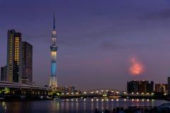 Sumida河烟花在夏天在日本 图库摄影