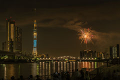 Sumida河烟花在夏天在日本 免版税图库摄影