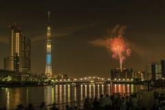 Sumida河烟花在夏天在日本 库存照片
