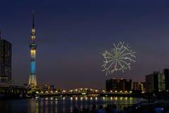 Sumida河烟花在夏天在日本 库存图片