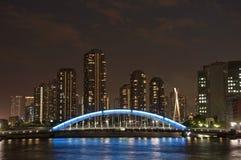 Sumida flodbro på natten Royaltyfri Foto