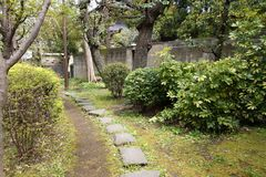 Sumida Park. In Tokyo, Japan. Stone paved path Stock Images