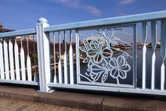 Sumida River bridge. In Tokyo - decorative railing with flower ornament. City decoration Royalty Free Stock Photo