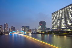 Sumida river in central Tokyo ,Japan Stock Photos