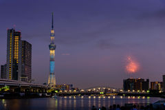 Sumida river Firework on summer in Japan Stock Photography