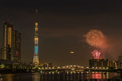 Sumida river Firework on summer in Japan Royalty Free Stock Photos