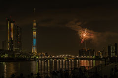 Sumida river Firework on summer in Japan Stock Images