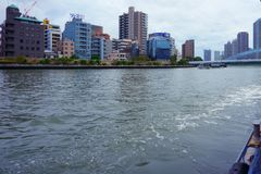Sumida River is a river that flows through Tokyo, Japan; flows into Tokyo Bay royalty free stock photography