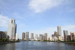 Sumida river and high-rise buildings in Tokyo Royalty Free Stock Photography