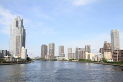 Sumida river and high-rise buildings in Tokyo. Japan Royalty Free Stock Photo