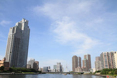 Sumida river and high-rise buildings in Tokyo Stock Photo