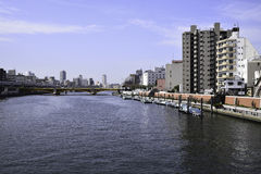 Sumida River. Kachidoki Bridge and Sumida River flowing through Tokyo, Japan Royalty Free Stock Photos