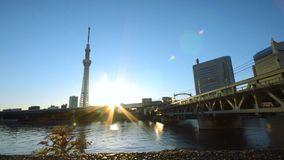 Sumida River and railway bridge  is in front of Tokyo Skytree and Metropolitan Expressway. Tokyo, Japan - November 20, 2013 : In the morning, Sumida River and stock video