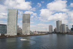 Sumida River and Skyscrapers in Tokyo Stock Photos