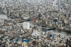 Sumida River, Tokyo, Japan. An aerial view of the Sumida River and Tokyo, Japan Royalty Free Stock Photography