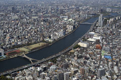 Sumida River Tokyo Japan. Tokyo seen from Sky Tree Tower with Sumida River in the center Stock Images