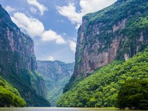 Sumidero Canyon from Grijalva river, Chiapas, Mexico. Stunning view of Sumidero Canyon from Grijalva river, Chiapas, Mexico Stock Image