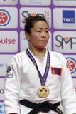 Sumiya Dorjsuren, Μογγολία με το χρυσό μετάλλιο των παγκόσμιων κυρίων 2017 τζούντου Στοκ φωτογραφία με δικαίωμα ελεύθερης χρήσης