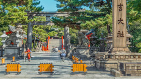 Sumiyoshi盛大寺庙(Sumiyoshi-taisha)在大阪 图库摄影