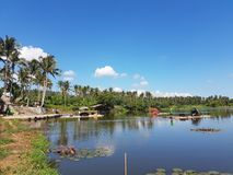 Sumlang Lake, Camalig Legazpi Bicol, Philippines. A place to see a different perspective of the Mayon Volcano. A place where you can ride a bamboo raft to have a Royalty Free Stock Images