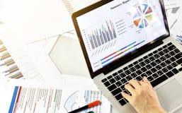 Summarisk rapport för affär och strategiplanläggning, dokument för data för granskning för affärskvinnor royaltyfri bild