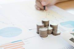 Summarisk rapport och finansiell analysering Arkivfoton