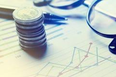 Summarisk rapport och finansiellt analyserande begrepp, penna och anteckningsbok Arkivfoto