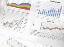 Summarisk rapport och finansiellt analyserande marknadsplan Fotografering för Bildbyråer