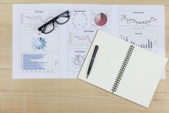 Summarisk rapport och finansiellt analyserande plan för pengarmarknad Royaltyfria Bilder