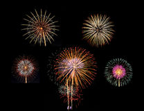 Summary of big Beautiful  Fireworks for celebration Royalty Free Stock Image
