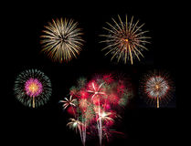 Summary of big Beautiful  Fireworks for celebration Stock Photo