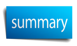 Summary blue paper sign Stock Image