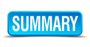 Summary blue square isolated button Stock Photography