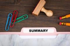 Summary concept. Folder Register on a dark wooden desk